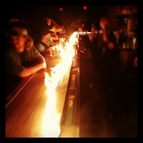 ruby room bar on fire