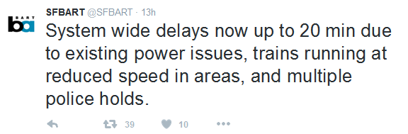 bart tweets about delays