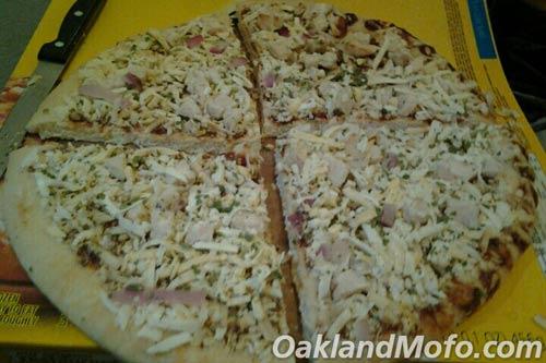 cutting a frozen pizza