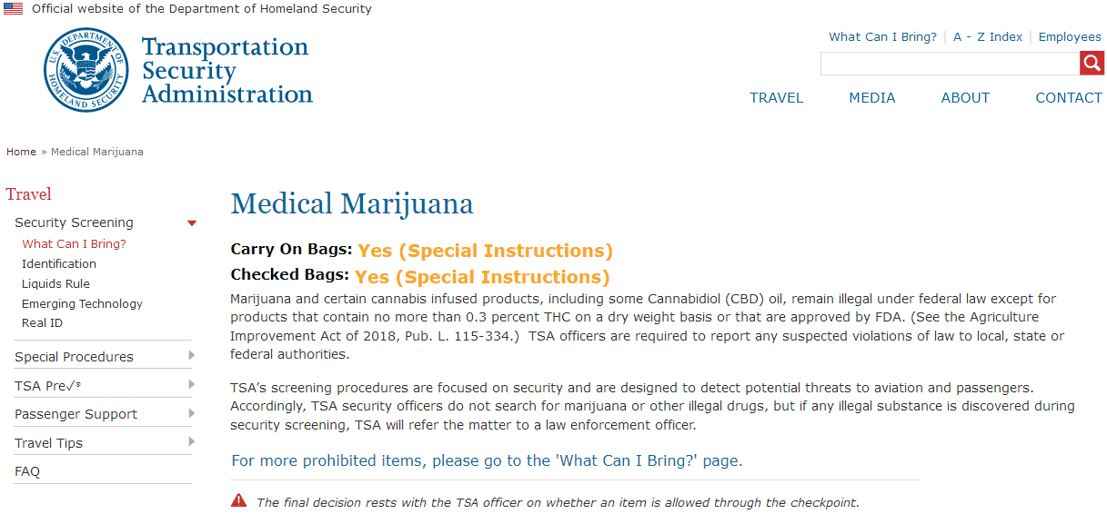 safe to fly with weed laws from tsa