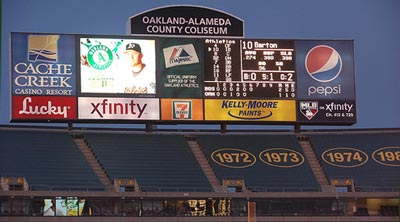 oakland field scoreboard