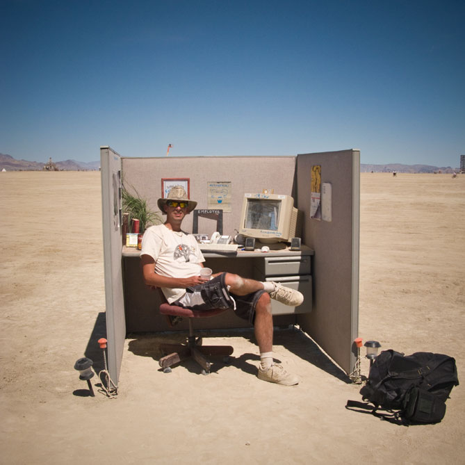 Office Cubicle in the Desert