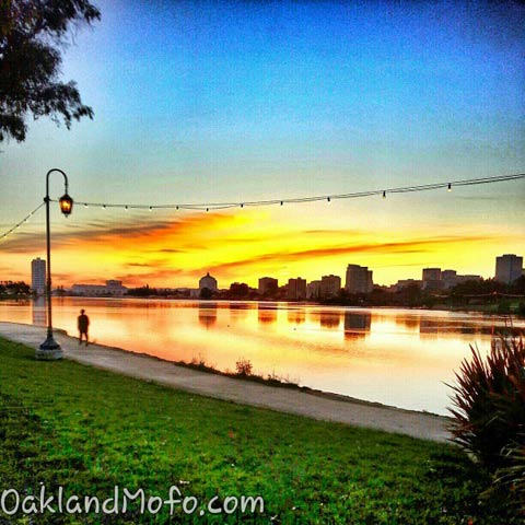 colorful sunset over lake merritt