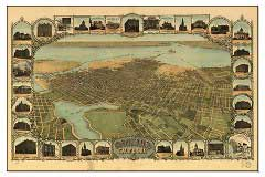 historic birds eye view panoramic map of oakland